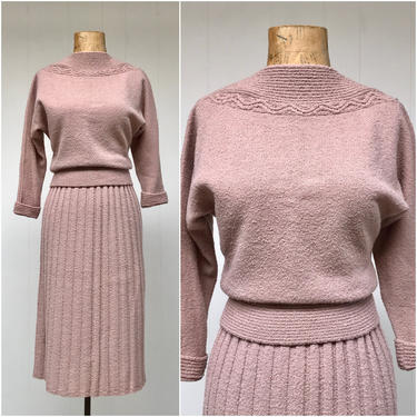 Vintage 1950s Sweater Set, 50s Mauve Lofties Wool Bouclé Pullover Knit Top and Ribbed Skirt, Mid-Century Bombshell, Size Small by RanchQueenVintage