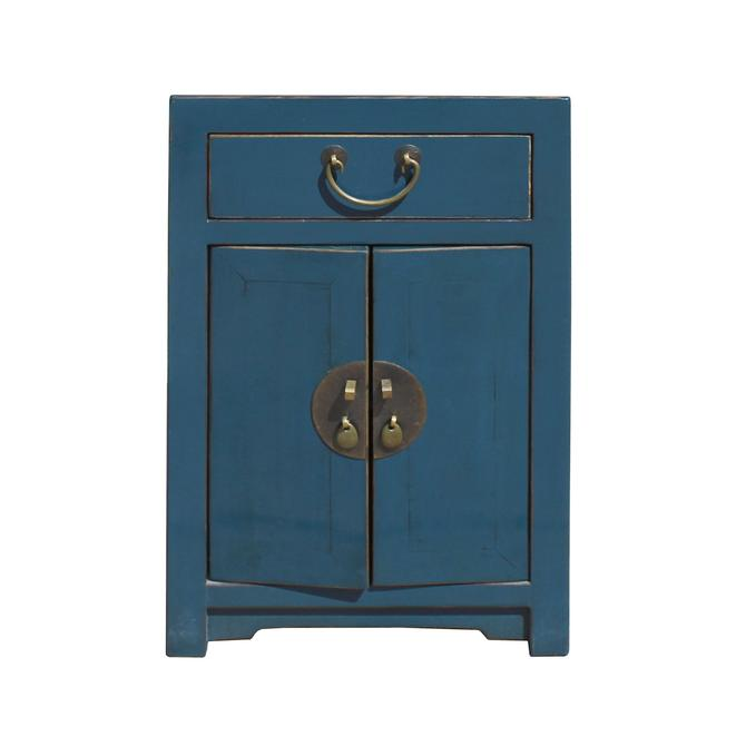 Oriental Distressed Teal Blue Chathams Lacquer Side End Table Nightstand cs5784S