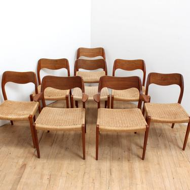 Niels Moller Dining Chairs 71 Danish Modern Paper Cord Set of 8 Vintage by 330Modern