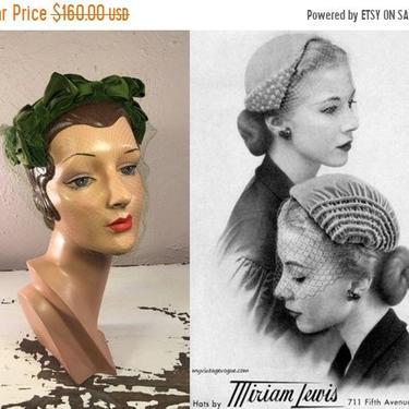 Autumn Sale 25% Off Cousine Claude - Vintage 1950s Chapeaux Louise Rich Green Velvet Caplet Hat Fascinator w/Matching Veil by RoadsLessTravelled2