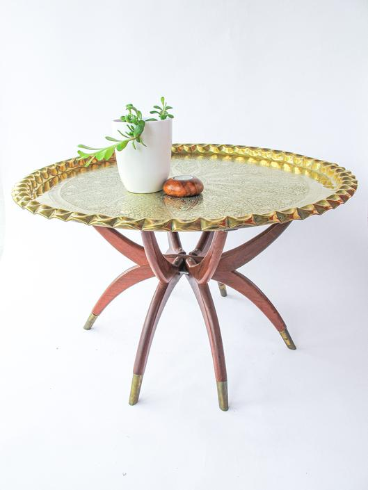 Gorgeous Large Round Vintage Engraved Brass Table Top with Mid-Century Modern Spider Table Wooden Base by PortlandRevibe