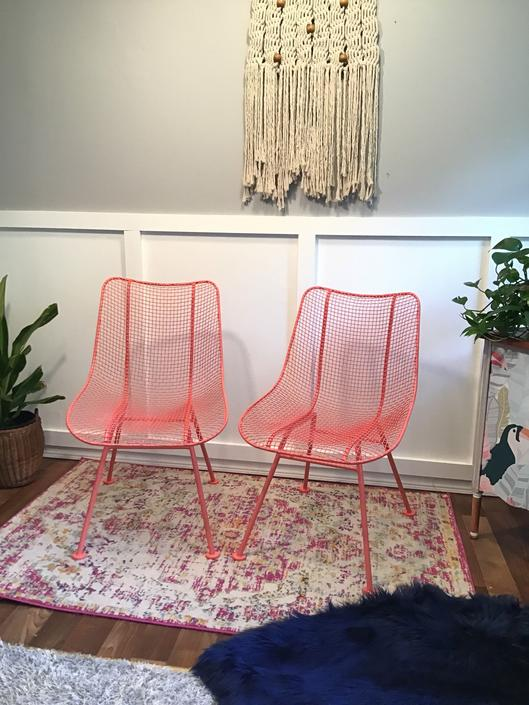 Woodward Coral Orange Sculptura Steel Vintage Mesh Chairs 1950s Mid Century Modern Woodward Furniture Restored Retro Coral by VintageCoreReStore