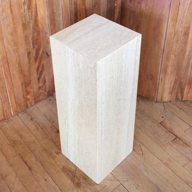 Travertine Pedestal Column Plinth Minimalist Postmodern Plant Stand Sculpture by 330Modern