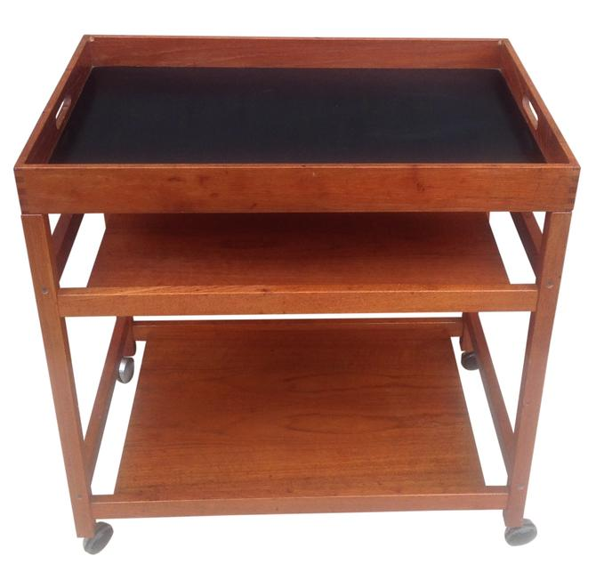 SOLD. Danish Modern Serving Cart With Removable Tray