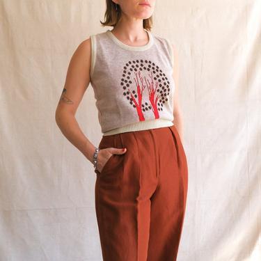 Vintage 70s Tree Sweater Vest/ 1970s Novelty Print Knit Sleeveless Top/Deco Print/ Size Medium by bottleofbread