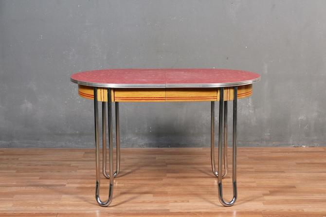 Retro Tomato Formica & Chrome Dining Table – ONLINE ONLY