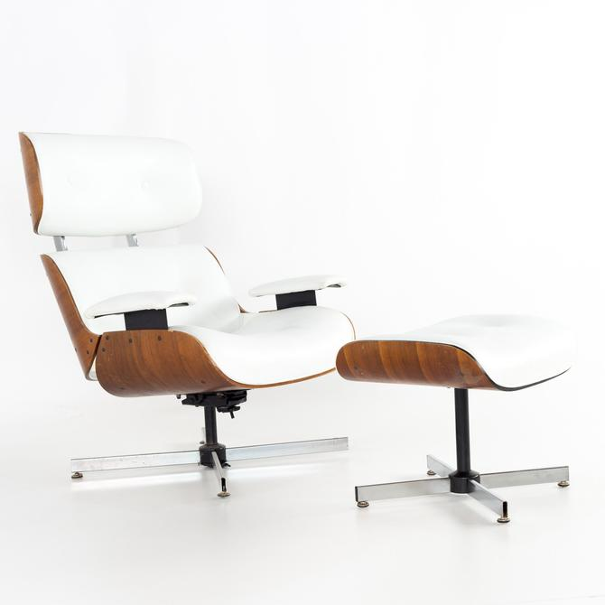 Eames Style Plycraft White Leather and Walnut Lounge Chair and Ottoman - mcm by ModernHill