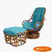 Rattan Swivel Chair With Ottoman