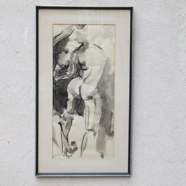 Framed Original Watercolor Nude in Black & White from 1974 by ilikemikes