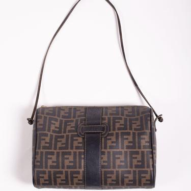1990s Fendi Zucca Canvas + Leather Crossbody Bag Shoulder FF Monogram Logo Baguette Brown Black by backroomclothing