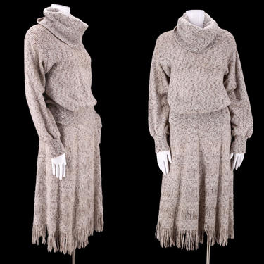 70s Marc D'Alcy 2pc knit dress outfit L / 1970s vintage elegant knitwear peasant sweater and A line skirt L by ritualvintage