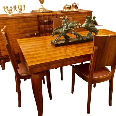 Jules Lelu French Art Deco Dining Room Suite Buffet, Table 6 Chairs
