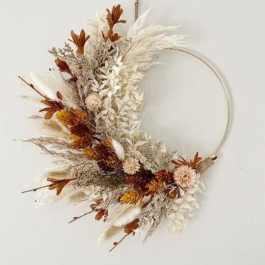 Brown, Mustard Hops and Blush Dried and Faux Fall wreath, Dried Foliage Wreath, Neutral everlasting wreath, Dried flower arrangement by NovaWreaths