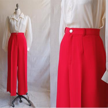 Vintage 80s Red Trousers/ 1980s High Waisted Straight Leg Dress Pants/ Size 32 by bottleofbread