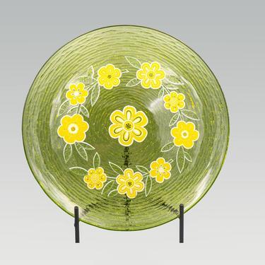 Culver Yellow Flowers on Green Serving Plate | Vintage Enameled Platter Glassware Tableware Serveware by MostlyMidCenturySF