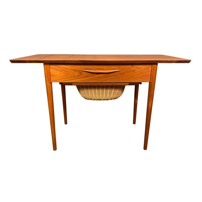 Vintage Danish Mid Century Modern Teak Sewing Drop Leaf End Table by AymerickModern