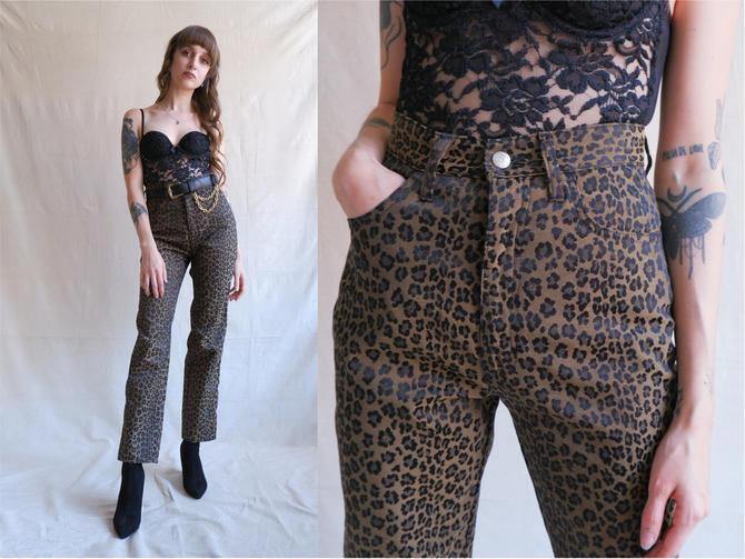 Vintage 90s Fendi Leopard Print Pants/ 1990s High Waisted Straight Leg Animal Print Designer Jeans/ Size Small 26 by bottleofbread