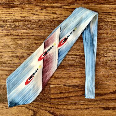 Wonderful Late 1940s / Early 1950s Hand Painted Silk Tie by Cavemanteeks