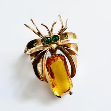 Art deco amber spider brooch, 1930s lapel pin, topaz amber jewelry, art deco brooch pin by ErstwhileStyle