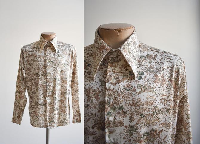 1970s Fox Hunting Print Disco Shirt by milkandice