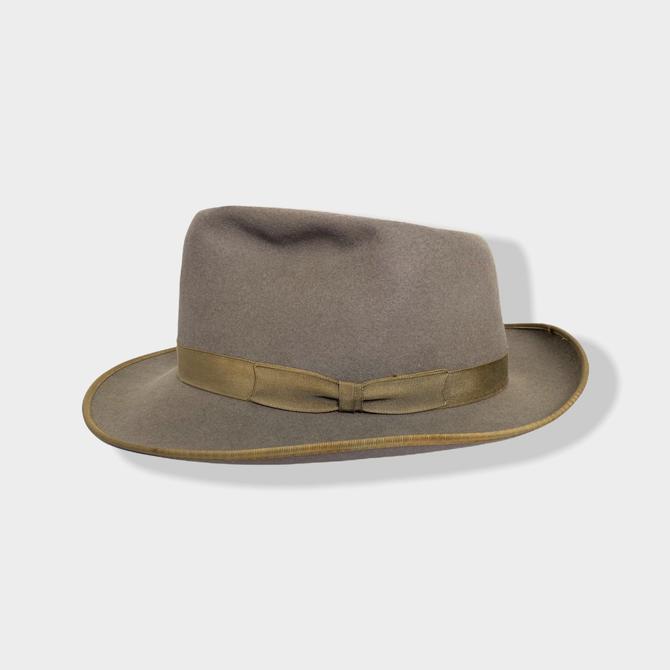 "Vintage 1950s/1960s ""Superfine Quality"" Fur Felt Fedora ~ size 7 1/4 ~ Whippet / Playboy ~ Bound Edge ~ Work Wear ~ by SparrowsAndWolves"