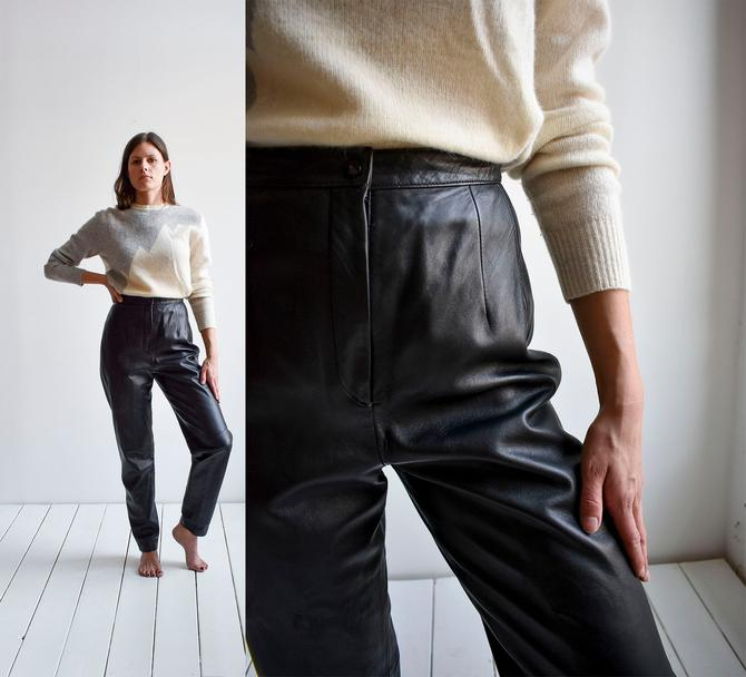 Vintage Black Leather Trousers by milkandice