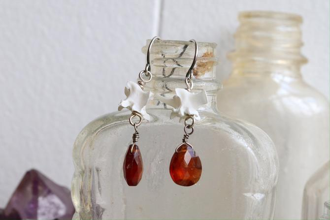 Snake Vertebrae & Garnet Earrings by nonasuch