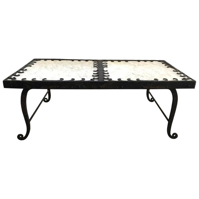 Art Deco Style Wrought Iron and Marble Coffee Table