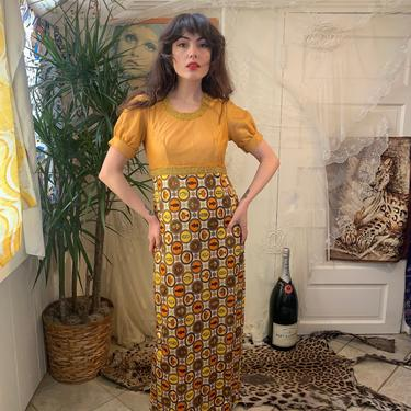 60s/70s REGAL MAXI DRESS - gold and orange - novelty print - metallic trim - small/medium by GlamItToHell