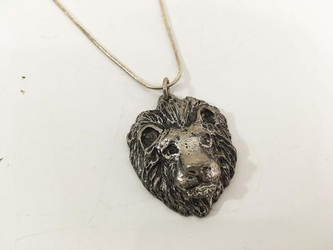 Vintage Metzke Pewter Lion Head Pendant Leo Sterling Silver Necklace 925 Astrology Zodiac Modern Boho Style Pendant 20 inch Chain MCM 1974 by CheckEngineVintage