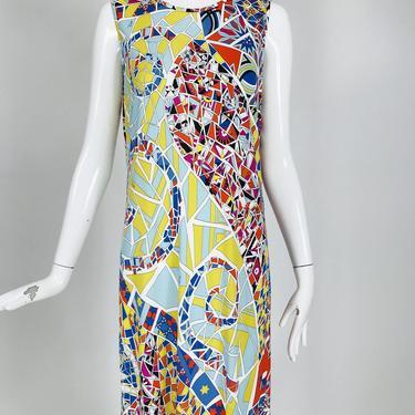 Emilio Pucci Silk Blend Jersey Sleeveless Star Print Shift Dress 42