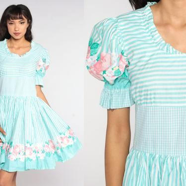 Cottagecore Floral Dress 70s Puff Sleeve Dress Blue Striped Mini Dress Boho Square Dance Dress Vintage Full Skirt Peasant Bohemian Medium 8 by ShopExile
