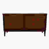 56″ Mid Century Walnut Bowed Front Low Dresser
