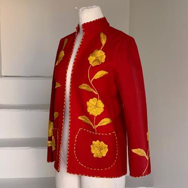 Late 1940s Wool Felt Embroidered Jacket from Mexico Vintage Casual Jacket by AmalgamatedShop