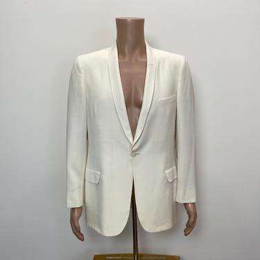 Vintage 1950s White Sport Coat 50s Evening Jacket Tuxedo Formal Formalwear by littlestarsvintage