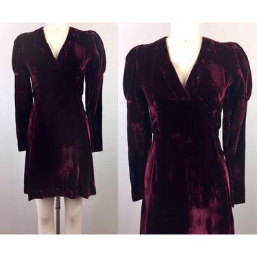 Vintage 70s Burgundy Velvet Mini Dress 1970s Boho Hippie Victorian Puff Sleeve XS by FlashbackATX