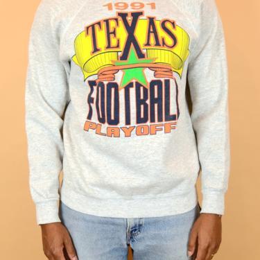Vintage 90s UT University of Texas Football Pullover Crewneck Sweater Unisex Medium Large by MAWSUPPLY