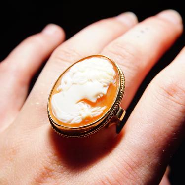 Victorian 10K Yellow Gold Cameo Ring, Large Classic Relief Cameo, Ornate Gold Scroll Setting, Size 7 1/2 US by shopGoodsVintage