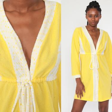 Terry Cloth Dress WRAP Dress Yellow V Neck 70s Mini Lounge Dress Empire Waist 1970s Vintage Long Sleeve Small by ShopExile