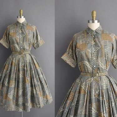 1950s vintage dress   Mint Green & Gold Cotton Print Short Sleeve Full Skirt Sumer Shirt Dress   Large   50s dress by simplicityisbliss
