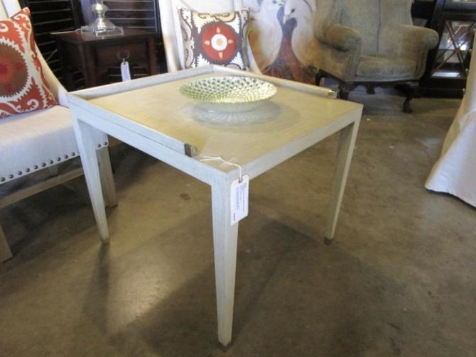 CUSTOM MADE SIDE TABLE WITH CHROME ACCENTS