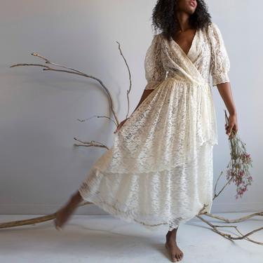vintage cream lace wedding romantic dress / S M by EELT