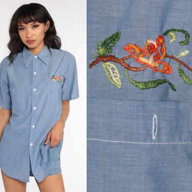 Floral Chambray Shirt Jean 70s Blue Short Sleeve Button Up Shirt Oxford 1970s Cotton Button Down Lightweight Medium Large by ShopExile