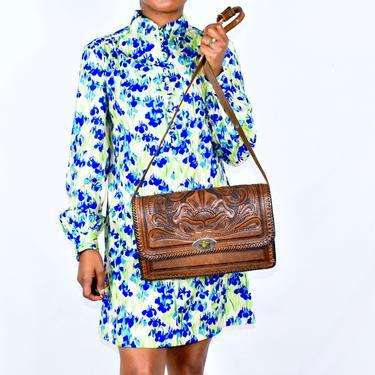 Vintage Tooled Leather Handbag Purse by LavenderJosephine
