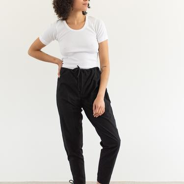 Vintage 24-30 Waist Slim Black Drawstring Easy Pant   High Waist Cotton Pants   25 26 27 28 29   by RAWSONSTUDIO