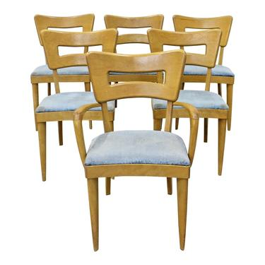 Heywood Wakefield Dining Chairs Set of 6 Mid-Century Modern Champagne Dogbone Side Dining Chairs by AnnexMarketplace