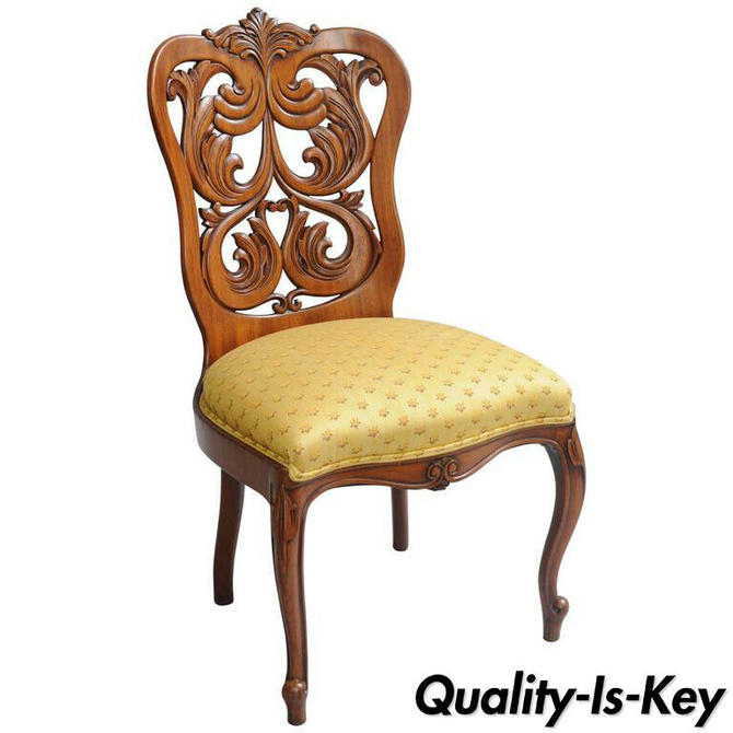 Rococo Revival Victorian Laminated Walnut Scroll Slipper Chair Attr. John Belter
