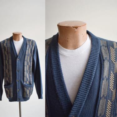 Vintage Mens Blue Cardigan Sweater by milkandice
