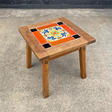 California Mission Monterey with Early Catalina Tiles Side Table, c.1920's by VintageSupplyLA