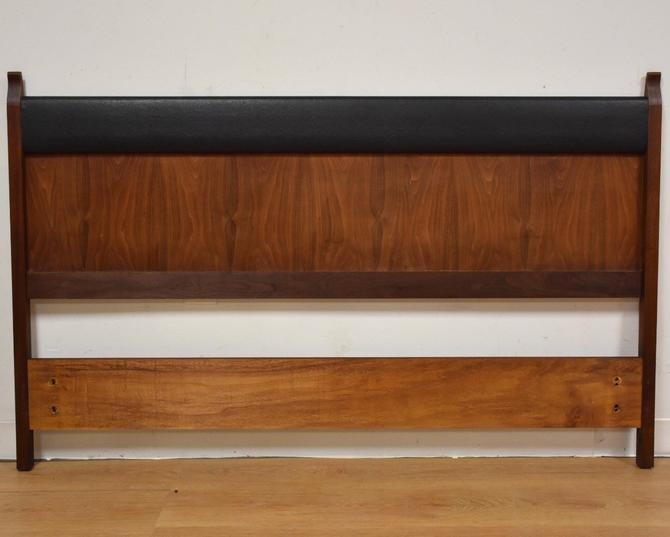 Walnut and Black Vinyl Headboard by mixedmodern1